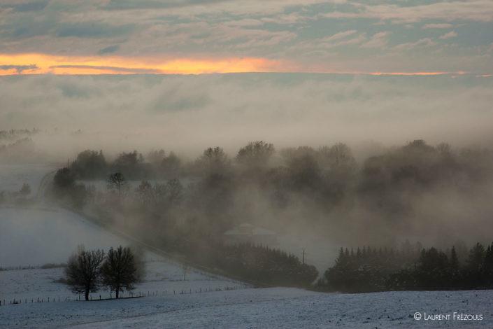 La campagne sous la neige dans les environs de Navès dans le Tarn